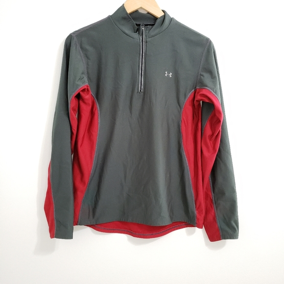 Under Armour Grey Red Work Out Running Pull Over